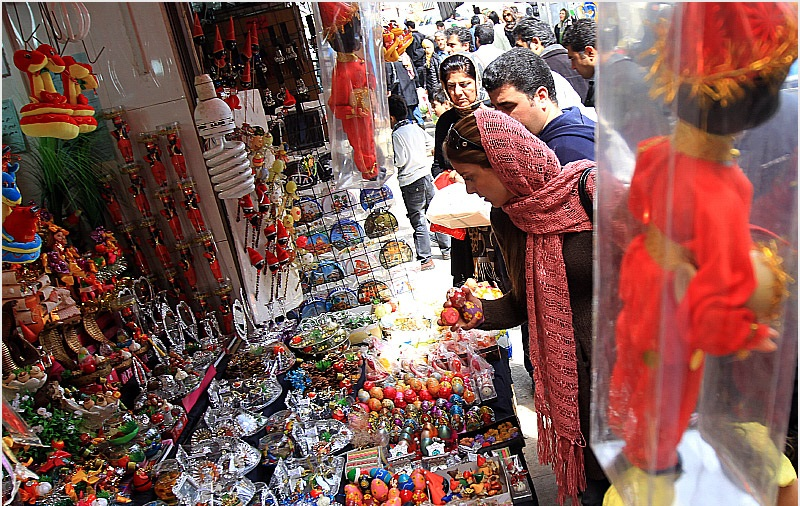 A traditional market that sale some things for nowruz and Haft Sin
